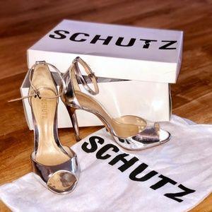 Schutz - Silver Leather Stiletto Heels
